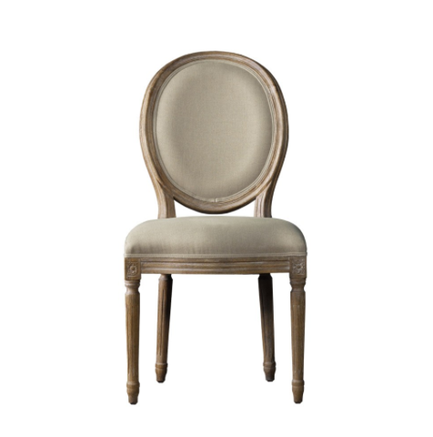 SK Collection Chair | VINTAGE LOUIS BEIGE ROUND SIDE CHAIR (Pair)