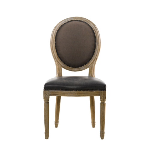 SK Collection Chair | VINTAGE LOUIS LEATHER ROUND SIDE CHAIR (Pair)