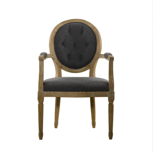 SK Collection Chair | VINTAGE DARK WOOL LOUIS ROUND BUTTON ARM CHAIR