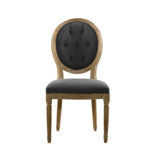 SK Collection Chair | VINTAGE DARK WOOL LOUIS ROUND BUTTON SIDE CHAIR (Pair)