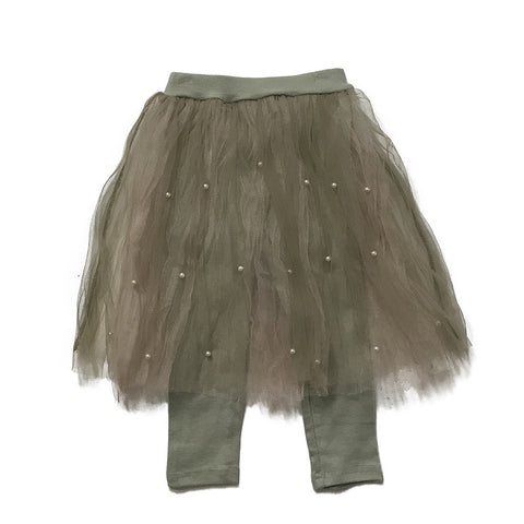 Pearl Studded Tulle Tutu Skirt and Leggings - Pink/Green