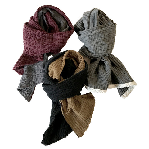 Kids Scarves - Two Toned Cotton Scarf - Assorted