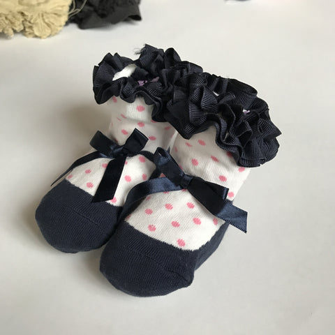 Toddler No-Slip Ankle Socks - Ribbon Ruffled Mary Jane Shoe Design