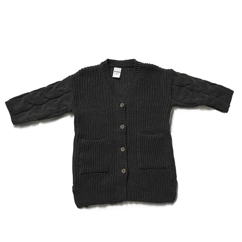 Knit Cotton Sweater Cardigan - Dark Grey