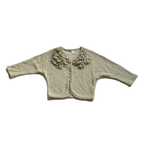 Flower Ruffled Collar Cardigan Sweater - Green Khaki