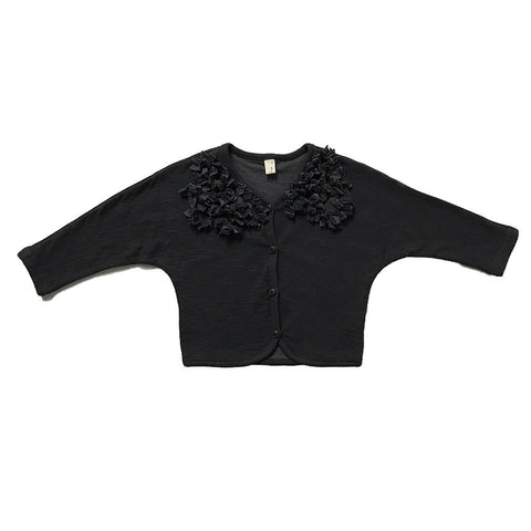 Flower Ruffled Collar Cardigan Sweater - Dark Gray