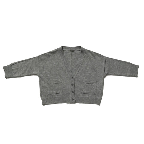Cotton Sweater Cardigan - Gray