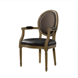 SK Collection Chair | VINTAGE LOUIS LEATHER ROUND ARM CHAIR