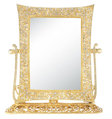 OLIVIA RIEGEL Gold Windsor Magnified Standing Vanity Mirror