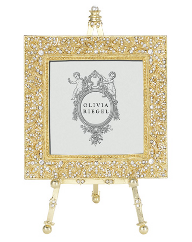 "OLIVIA RIEGEL Gold Windsor 4x4"" Swarvorski Crystal Frame on Easel"