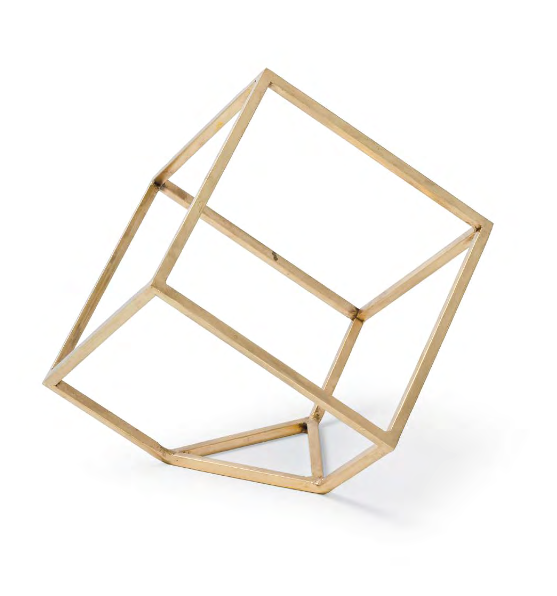 Open Standing Cube Decor Accessory - Brass