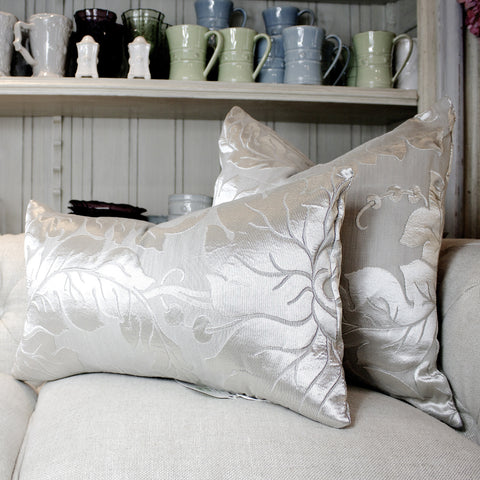 "SK Collection Pillow ""Silver Leaves"" Lumbar"
