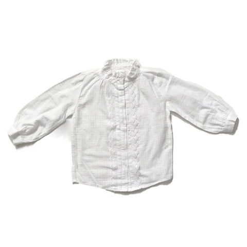 Ruffled Cotton Blouse Shirt - White