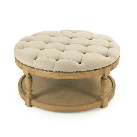 Tufted Linen & Wood Tammy Round Ottoman/Coffee Table