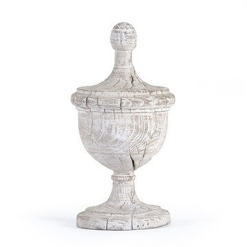 Wooden White Amora Urn / Finial - Vintage Reproduction
