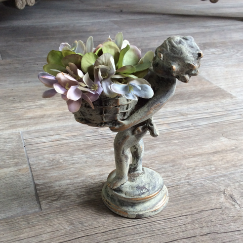 Antiqued Mini Cherub with Flower Basket