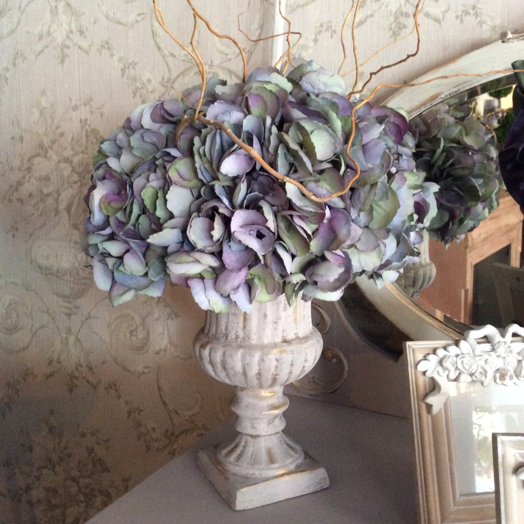 Blue green hydrangea silk flower arrangement la maison sophia blue green hydrangea silk flower arrangement mightylinksfo
