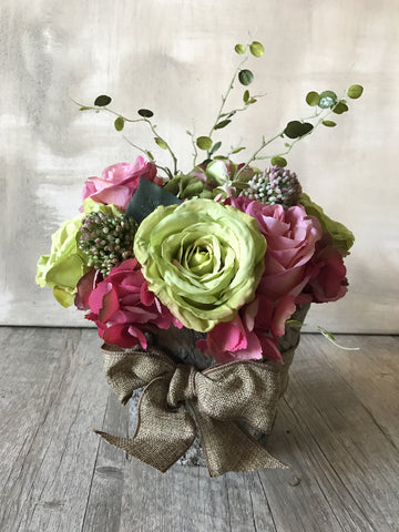 Artificial Pink & Green Floral Arrangement in Faux Bark Container Box
