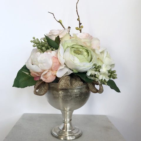 Artificial Pink & Green Flowers in Silver Goblet Floral Arrangement
