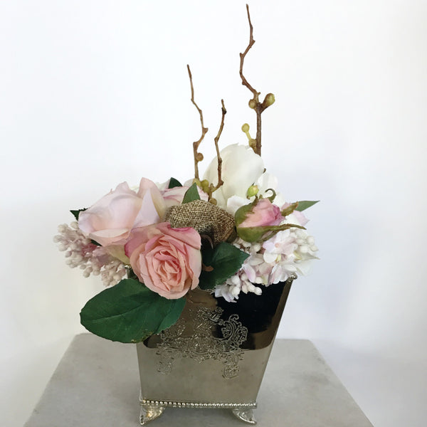 Artificial Pink & Green Flowers in Silver Box Floral Arrangement