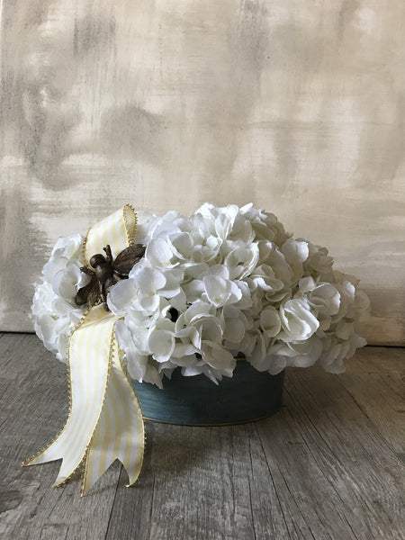 White Hydrangea Silk Floral Arrangement w/ Bee on Yellow Ribbon