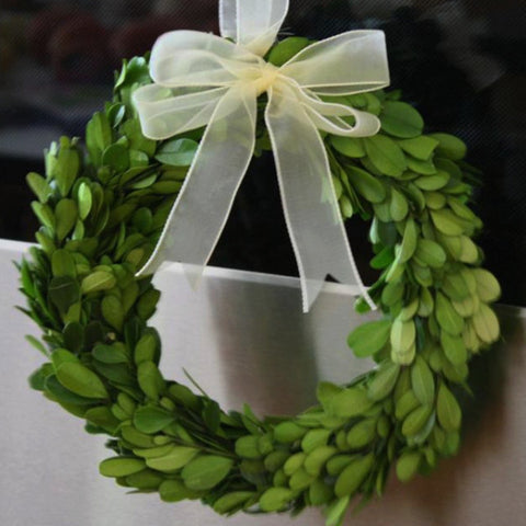 Real Preserved Boxwood Wreath with Ribbon 8""