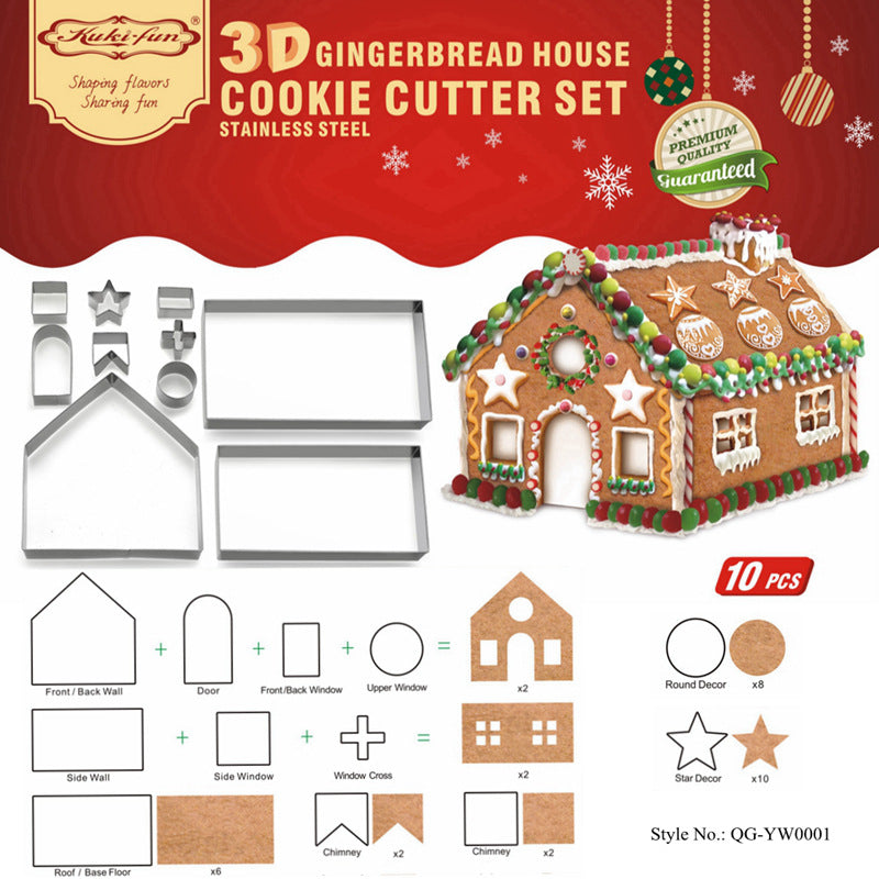 Gingerbread House Cookie Mold 10pcs/set