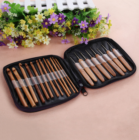 20Pcs Bamboo Crochet Hooks With Case