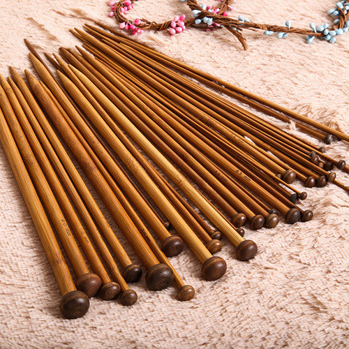 36pcs 18 Sizes Carbonized Bamboo Knitting Needles Set