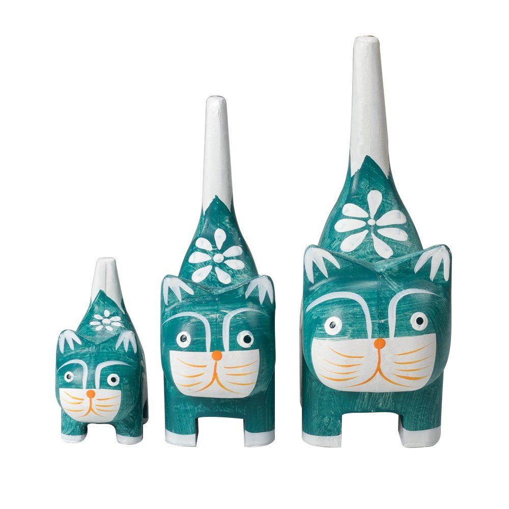 3 Wood Cat Decorative Figurine Home Decor