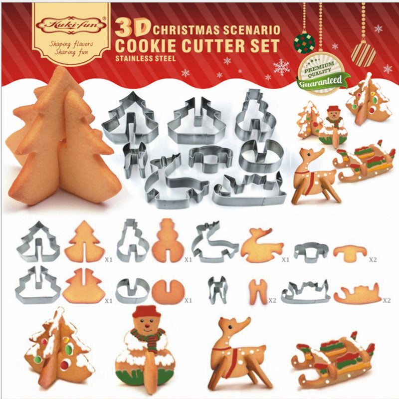 3D Christmas Scenario Cookie Cutter Set - 8Pcs
