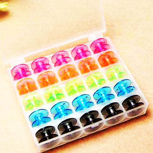 25pcs Colorful Empty Bobbins with Storage Box