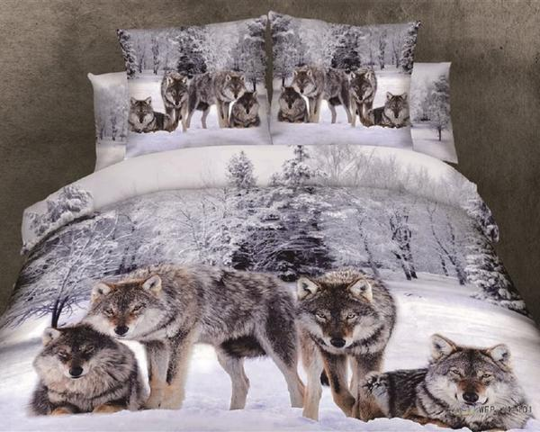 Captivating 3D Wolves Bedding Set