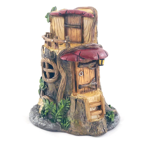 Fairy Tree Stump with Mushroom Awnings
