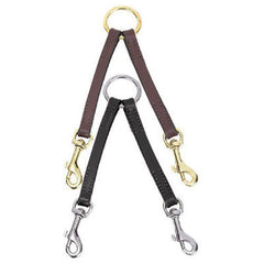 Casual Canine Leather Leash Coupler Brown and Black