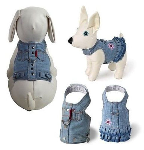 Doggles BLUE JEAN HARNESS VEST or DRESS