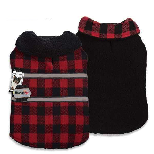 Zack & Zoey PLAID REVERSIBLE THERMAL BLANKET COAT (ThermaPet Technology)