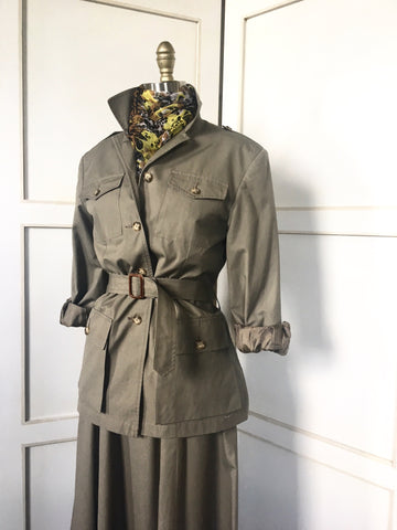 1970s Banana Republic safari jacket and skirt
