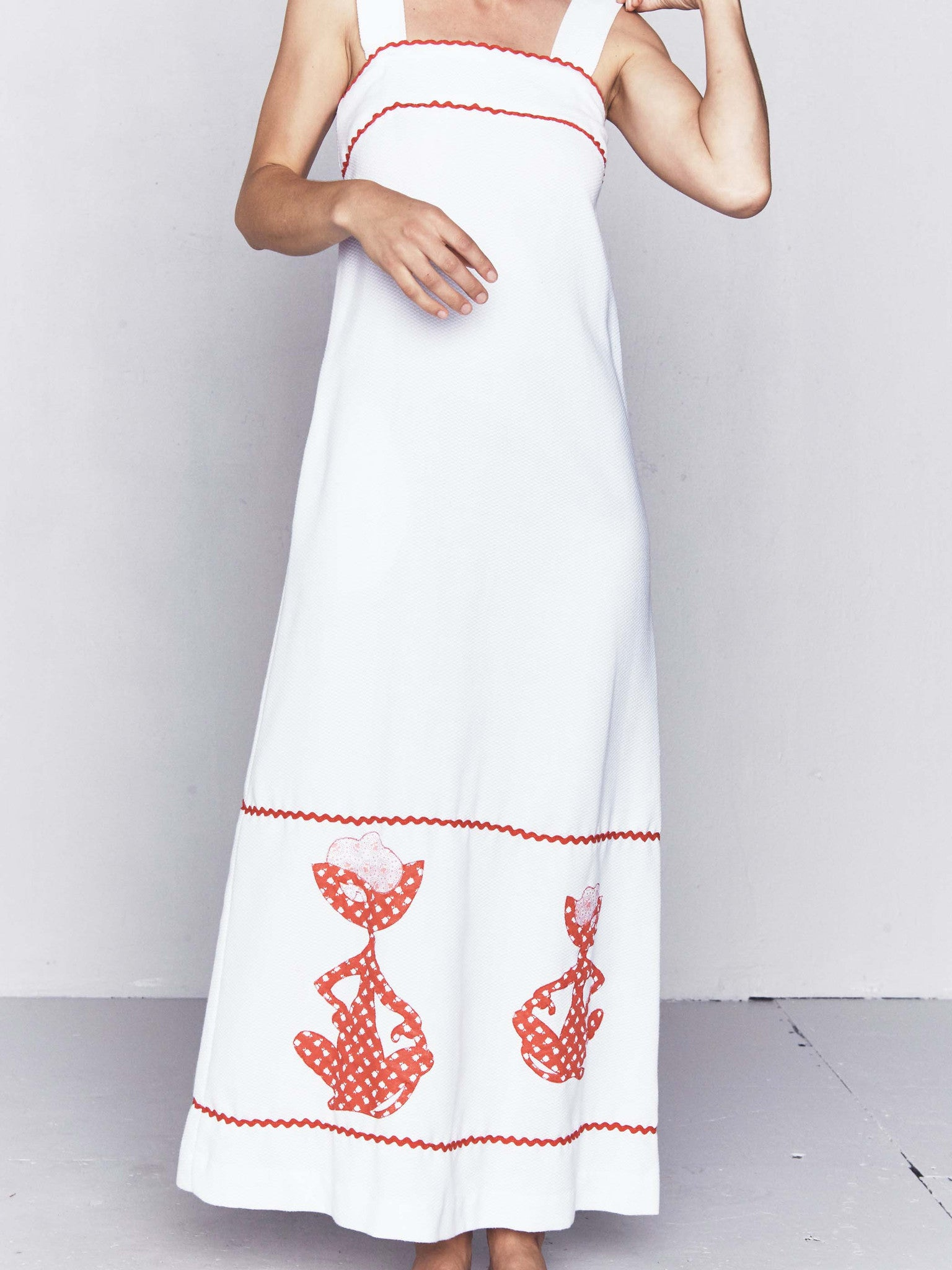 Vintage 1960s White Piqué Maxi Dress with Cat Appliqué and Ric-Rac Trim