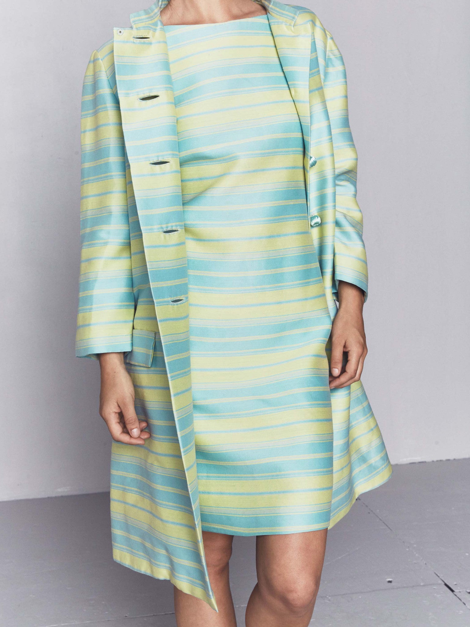 Vintage 1960s Pastel Stripe Cocktail Dress and Matching Coat