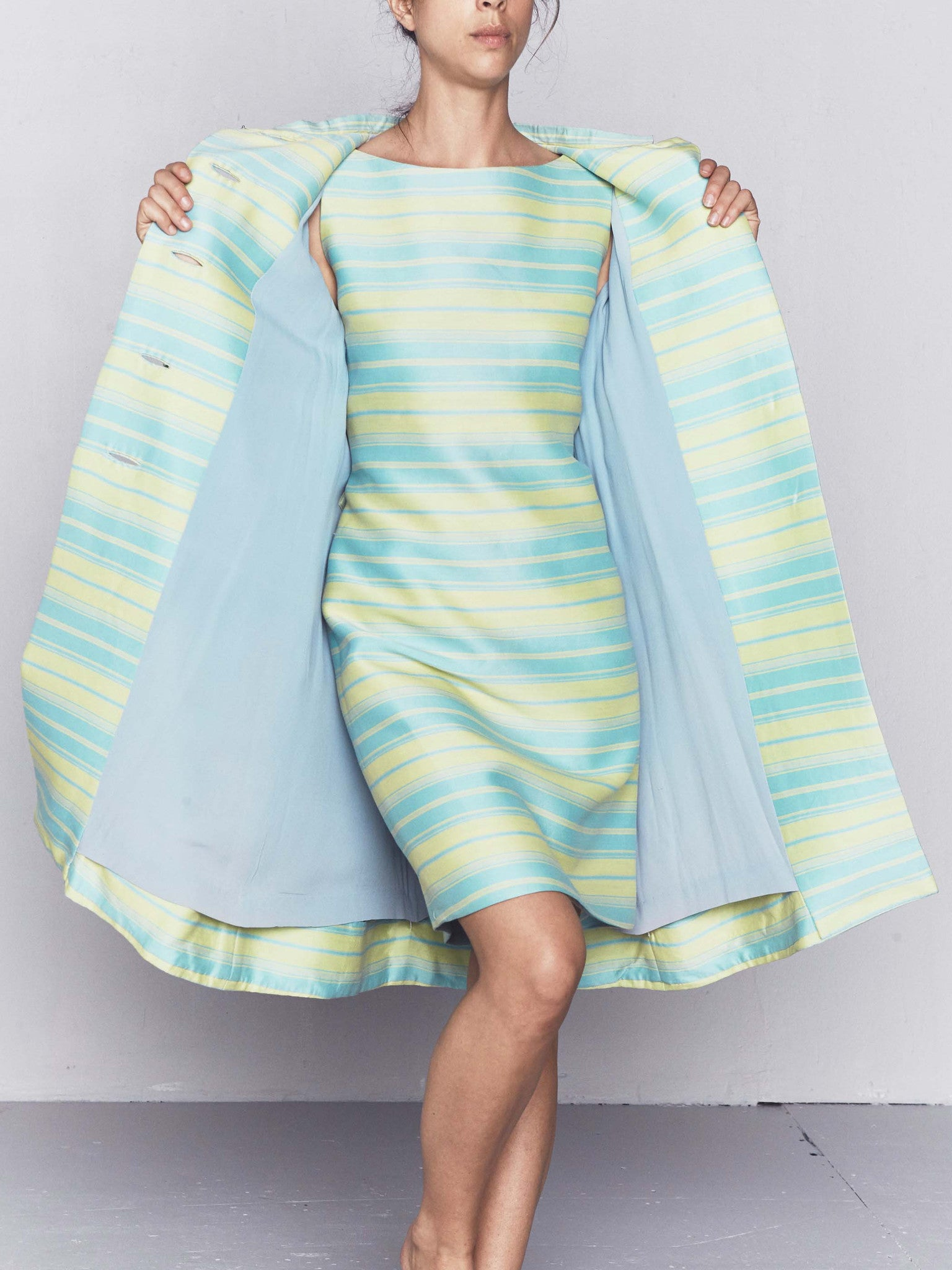 25a9efcea8 Vintage 1960s Pastel Stripe Cocktail Dress and Matching Coat ...