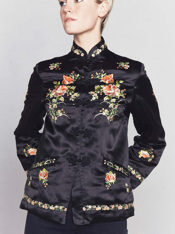 Vintage 1960s Embroidered Silk Chinois Blouse by Esmé