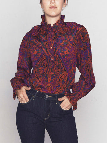 Vintage Yves Saint Laurent Paisley Gypsy Blouse