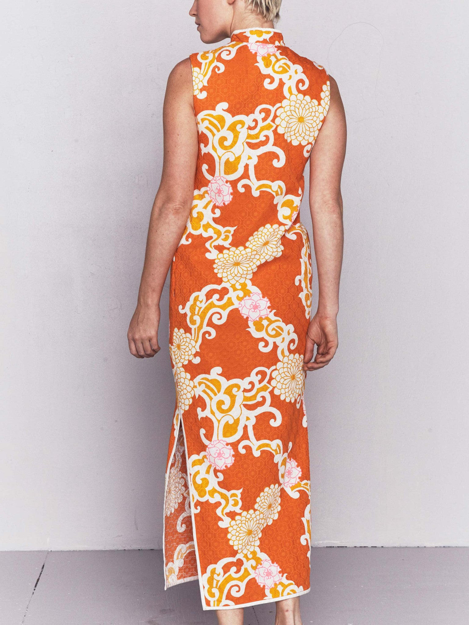 Vintage 1960s Orange Floral Cheongsam