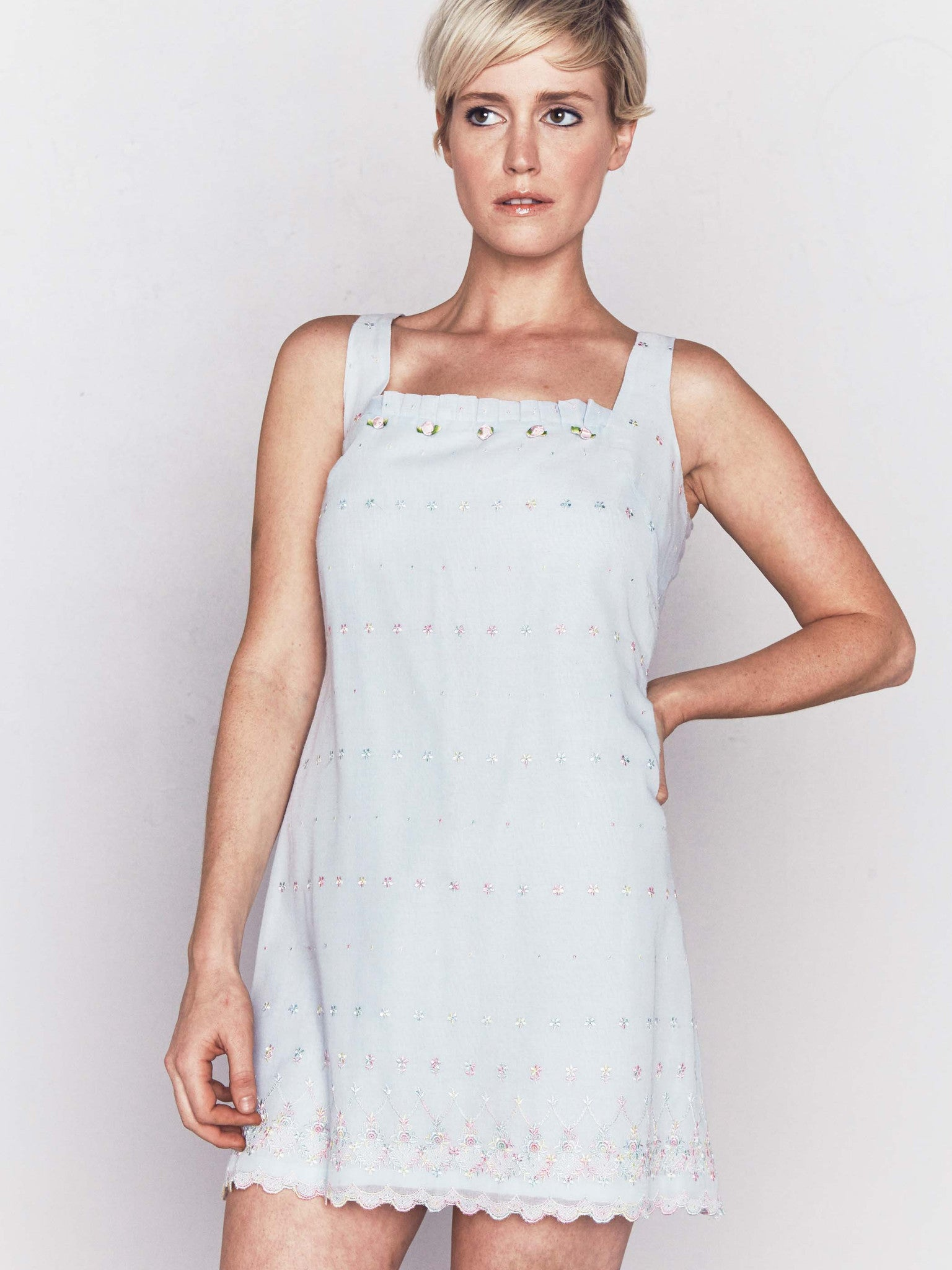 Vintage-Inspired Baby Blue Mini Dress by Tocca