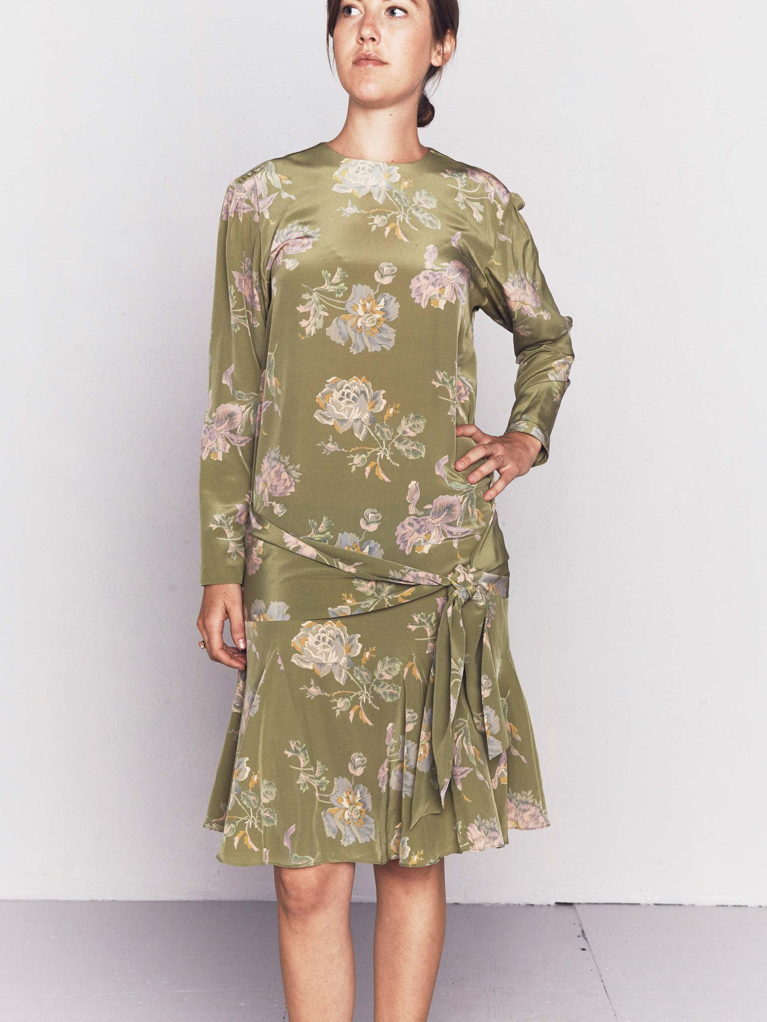 Vintage 1980s does 1920s Olive Green Floral Dropwaist Dress