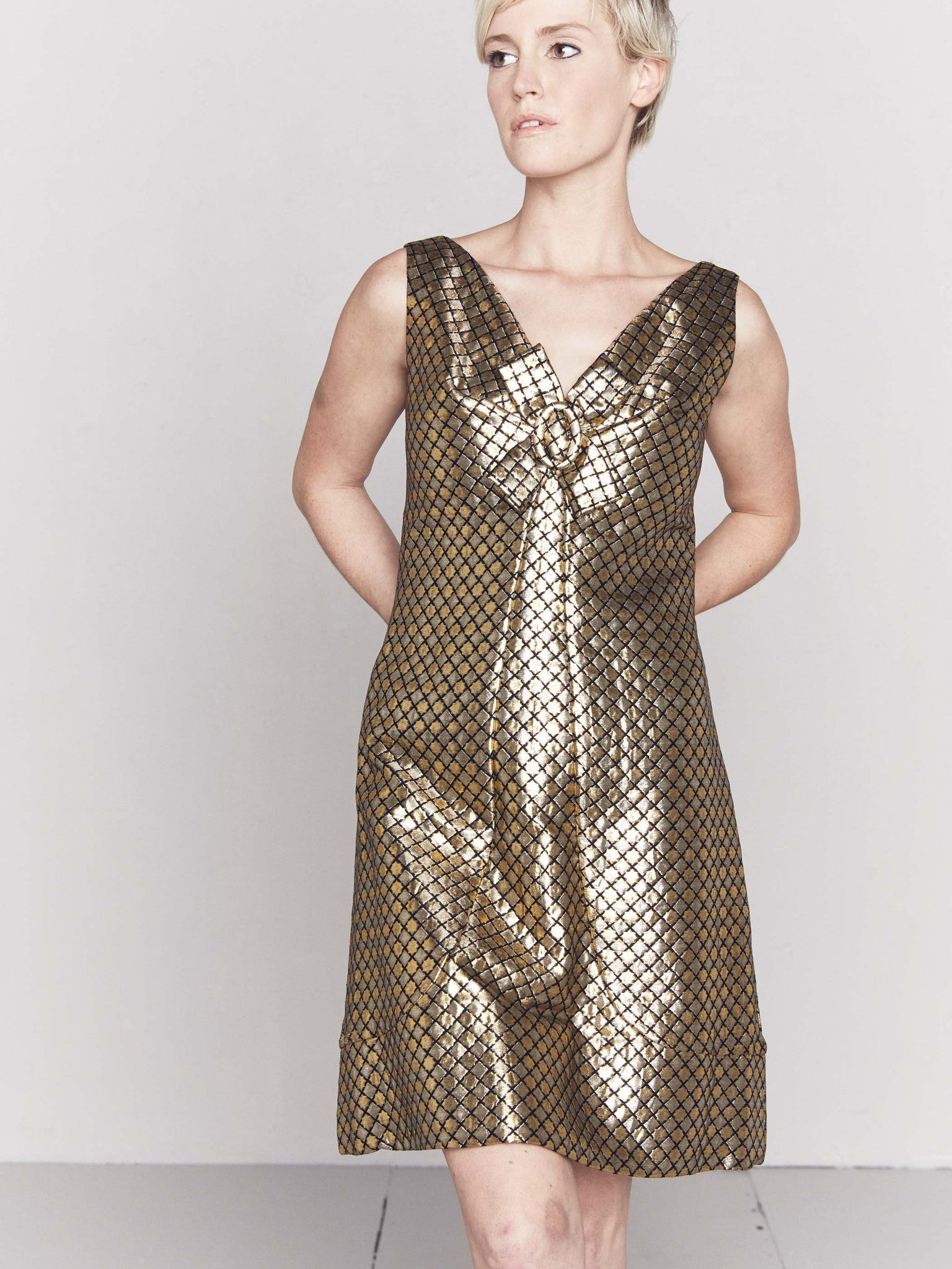 be634de233 Vintage 1960s Quilted Gold Twiggy Dress – Seeline Vintage