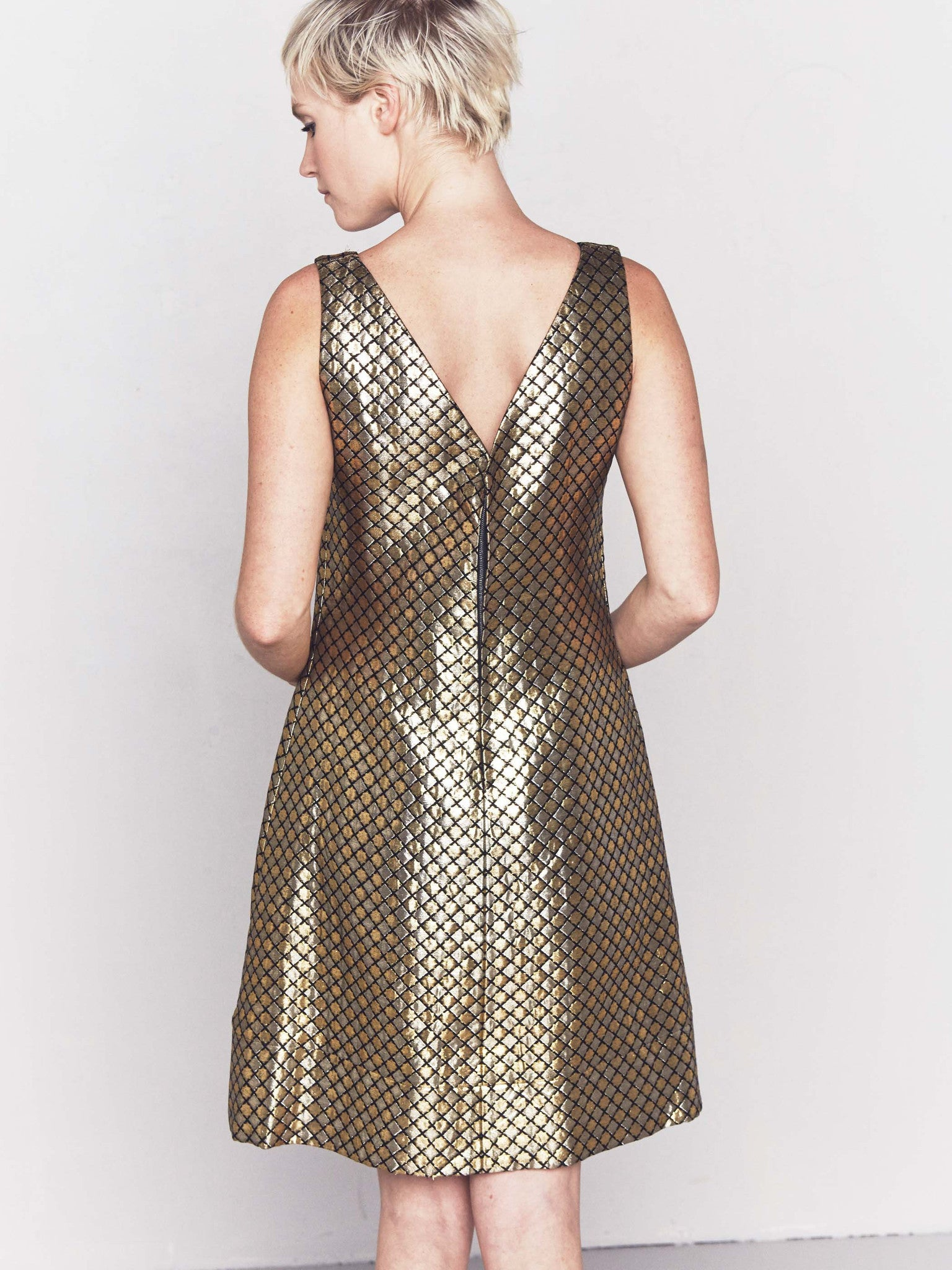 Vintage 1960s Quilted Gold Twiggy Dress