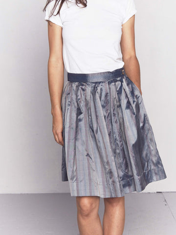 Vintage 1980s Metallic Stripe Taffeta Skirt