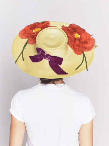 Vintage Straw Picture Hat with Red Flower Appliqué and Velvet Bow
